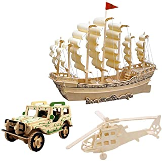 3D Wooden Puzzle Toy, Mini Ship Boat Model Puzzle Build Car Fighter Plane Model Kit Toy Best Gift for Adult and Children, 3 Set