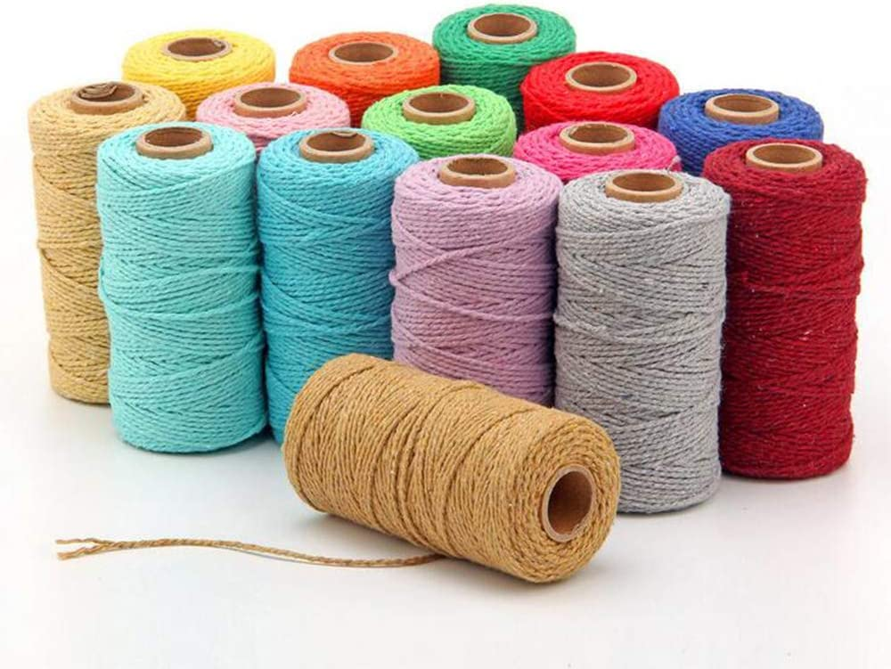328feet 2mm Macrame Cord Daily bargain sale Virginia Beach Mall Twisted Cotton Rope Colorful Cra Soft