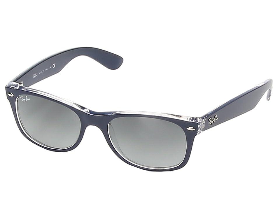Ray-Ban RB2132 New Wayfarer 52mm (Top Matte Blue On Transparent) Sport Sunglasses