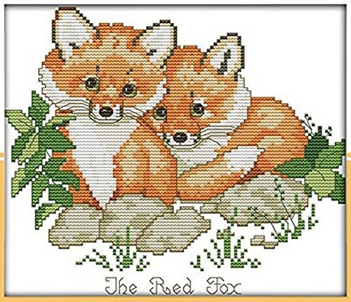 Happy Forever Cross Stitch Animals, red foxes