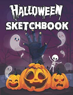 halloween sketchbook: Halloween Sketchbook for Kids, zombie hand and pumpkin Great Art Supplies and Sketch Book Gifts for ...