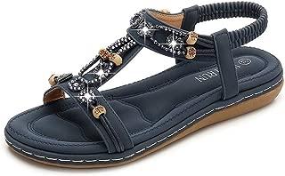 SHANLEE Summer Breathable Beaded Rhinestone Round Head Flat Beach Herringbone Shoes