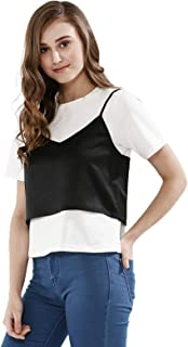 Koovs, White Mixed Neck Two Pieces Wear For Women