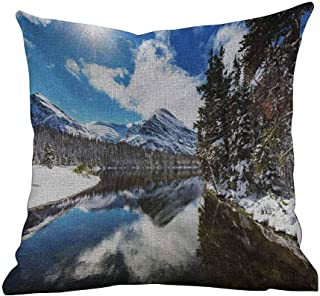 Matt Flowe Cusion Pillow Cover Winter,Tranquil View of Glacier National Park in Montana Water Reflection Peaceful,Brown Blue White,Home Decor Sofa Cushion Case 16