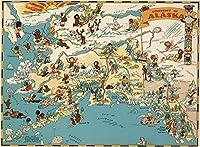 Alaska 木製 地図 ジグソーパズル おもちゃ 大人 子供 USA 州地図 パズル ゲーム 1000ピース