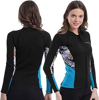 Womens Wetsuit Top, 2mm Zip Wetsuit Jacket Long Sleeve for Canoeing Sea Kayaking Snorkeling Diving Water Aerobics