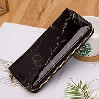 Yinew Marble Pattern Long Zip Clutch Multi-Card Posizione Carta di Credito Pacchetto Portamonete da Donna, PU, Nero, As De...