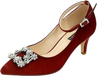 Low Heel Pumps for Women Comfort Kitten Heels Rhinestone Brooch Evening Dress Shoes
