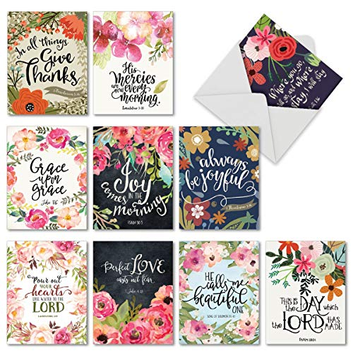 10 Religious Watercolor Note Cards with Envelopes - All-occasion 'Blessings' Bible Verse Blank Greeting Cards - Floral Painted for Holidays, Thank You, Baby - Notecard Set 4 x 5.12 inch M6634OCBsl