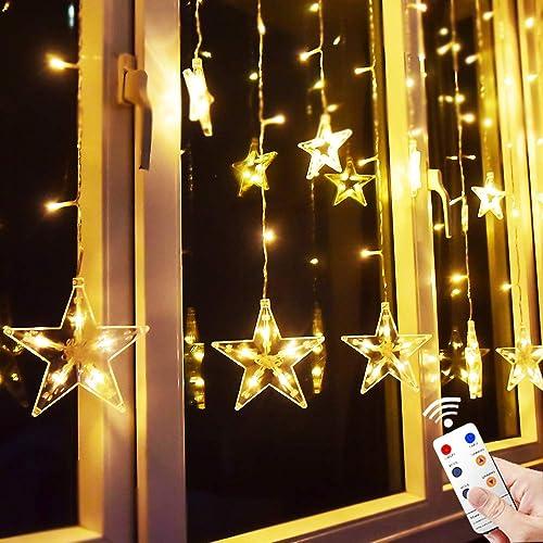 Elegant Star Curtain Lights, 8.2ft X 3.2ft 138 LED Remote Window Curtain Lights Plug
