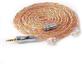 NICEHCK C16-2 16芯 イヤホンケーブル 銀メッキ線と高純度銅線のミックス qdc 2Pin 2.5mm 炭素繊維プラグ 金属製コネクタ 着脱式 柔らかい アップグレードケーブル 4極 柔らかい 1.2m DIYイヤホンのアクセサリ 音質改善 高級交換用ケーブルqdcイヤホン、ZSX ZSN ZSN pro ZS10 pro AS12 AS16、CCA C12 CA4 A10等に対応 (C16-2 2.5mm, qdc 2Pin)