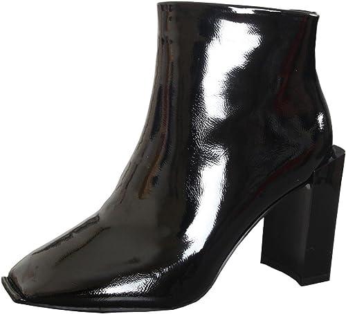 HBDLH-schuhe de damen Stiefel Cortas damen De Tacones 9Cm Tacones Altos Martin Stiefel Bare Stiefel Laca Cabezas Cuadradas Invierno
