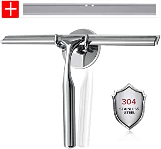 Luxear Bathroom Shower Squeegee All-Purpose Stainless Steel Squeegees with Hooks Holder Chrome Squeegee for Shower Doors Mirror Kitchen Window and Car Glass 1 Extra Silicone Blade Included 10-Inch
