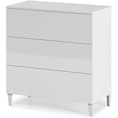 Steens Furniture 3600150050000F Commode /à 3 Tiroirs Grands MDF Verni Blanc 81 x 40 x 73 cm