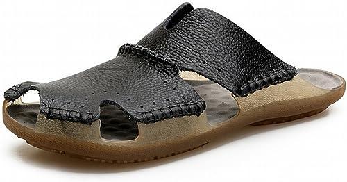 YTTY la Première Couche de Sandales en Cuir Male en Cuir Baotou Plage Chaussures en Cuir Anti-Dérapant Sandales en Plein Air, Noir, 38