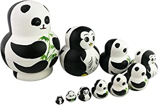 Winterworm Cute Creative Animal Two-Sided Panda and Penguin Handmade Wooden Matryoshka Dolls Russian Nesting Dolls Set 10 Pieces for Kids Toy Birthday Home Decoration