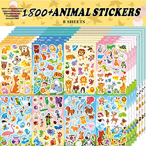 Sinceroduct Animal Stickers Assortment Set, 8 Sheets (1800+ Count), 2 Different Styles 16 Themes Collection for Kids, Children, Teacher, Parent, Grandparent, Animals of The World Sticker Variety Pack