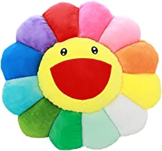 YuanShiming Cushion Floor Pillow Smile Face Rainbow Flower in Soft Plush Cloth for Sofa Bed Room Living Room Decorative 15.7