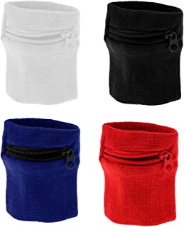 KESOTO 4Pcs Sweatband Wristband Zipper Pocket, Wrist/Ankle Wallet Pouch - Functional & Durable
