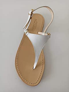 """Sandalo stile""""Positano"""", triangolo bianco"""