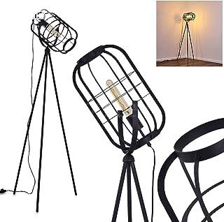 Lampadaire Flambeau en métal noir, luminaire rétro-industrielle avec interrupteur à pied sur le câble, idéale dans un salo...