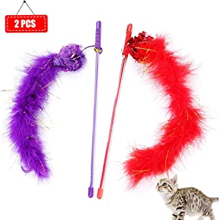 Taicanon Cat Toy Feather Wand Cat Feather Toy Cat Pet Toy Wand Teaser Feather with Bell