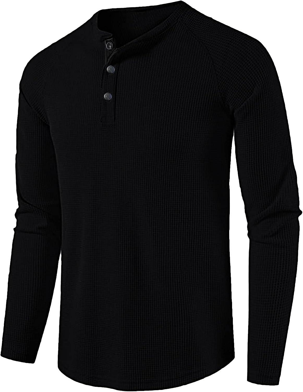 Kingspinner Ranking TOP14 Men's Henley Shirt gift Waffle Regular-fit Long-Sleeve Sw