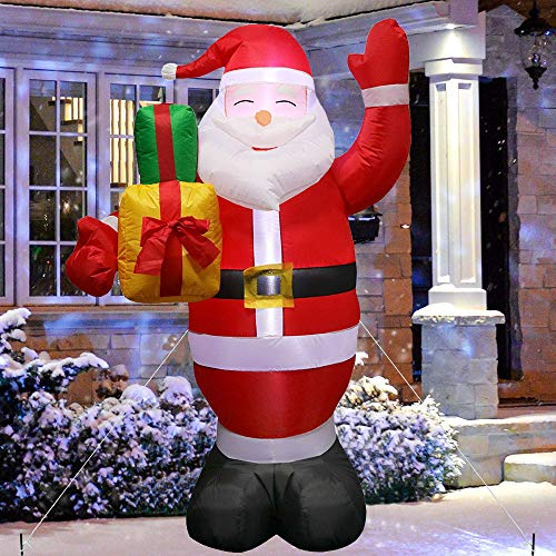 blackmatrix Christmas Inflatable Outdoor Decorations, Santa Claus Yard Decor with Built-in LEDs Blow Up Inflatables for Christmas Party Indoor, Outdoor, Yard, Garden, Lawn Decorations