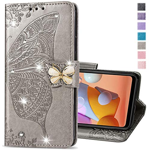 COTDINFOR Compatible with Moto Edge 5g Case Glitter Leather Flip Wallet Diamond Butterfly Shockproof Case with Card Holder Stand Case for Motorola Moto Edge 5g Crystal Grey