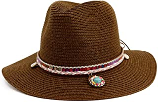 Summer Straw Fedora Wide Brim Jazz Hats with Gem Black Sun Protection Trilby Cap for Men Women Beach Boater Hat Chapeau Femme` TuanTuan (Color : Coffee, Size : 56-58CM)