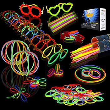 JOYIN Glow Sticks Bulk 200 8  Glowsticks  Total 456 PCs 7 Colors   Bracelets Glow Necklaces Glow-in-The-Dark Light-up July 4th Christmas Halloween Party Supplies Pack New Year Eve Party 2021