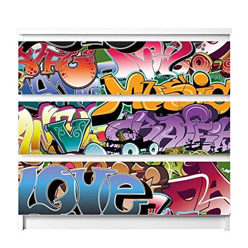 banjado Möbelfolie passend für IKEA Malm Kommode 3 Schubladen | Möbel-Sticker selbstklebend | Aufkleber Tattoo perfekt für Wohnzimmer und Kinderzimmer | Klebefolie Motiv Graffiti