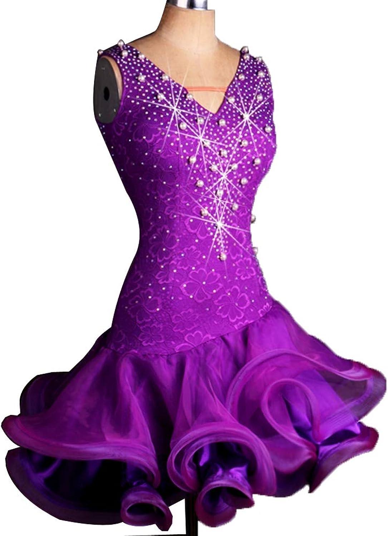 Professional Latin Dance Competition Dresses for Ladies Pearl Rhinestones Sleeveless Bare Back Zumba Cha Cha Party Tango Dance Costume Performance Skirt