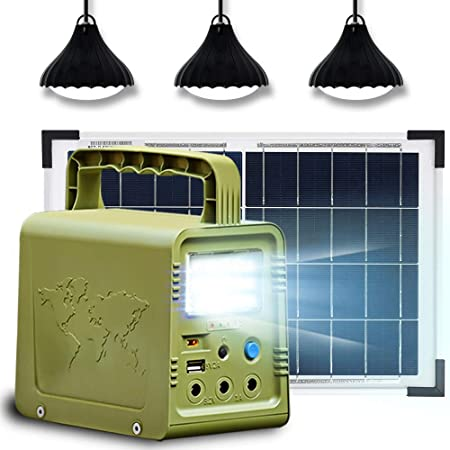 ECO-WORTHY 84Wh Solar Generator Lighting with Panels, Portable Power Station with 18W Solar Panel and 3 LED Lamp for Outdoor Camping, Fishing, Hurricane, Power Outage, Home Emergency Power Supply