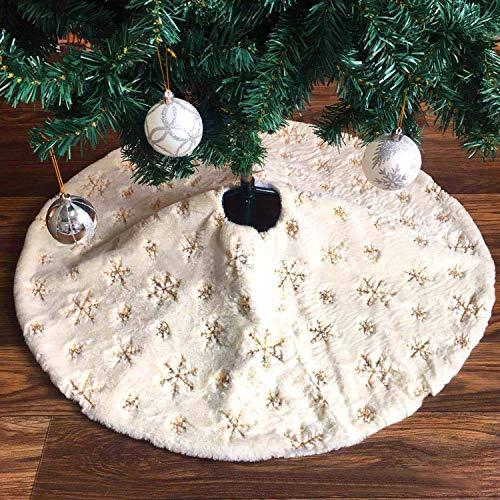 Tacobear 122cm Weihnachtsbaumdecke Baumdecke mit Schneeflocke Weihnachtsbaum Rock Weiß Plüsch Groß Christbaumdecke Weihnachtsbaum Deko für Weihnachten Neujahr Dekoration (Gold)