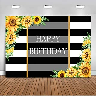 Mocsicka Sunflower Birthday Backdrop Black and White Stripes Photography Background 7x5ft Vinyl Sunflower Birthday Party Banner Backdrops
