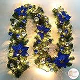 Queta Guirlande de Sapin Décoration Noël Guirlande avec Boules Couronne de Fleurs Boule avec LED lumière pour Porte Entrée 270cm (Bleu)