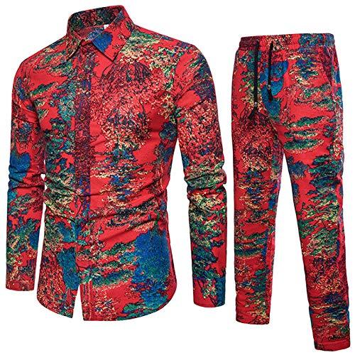 Men's Set Shirt und Hosen in voller Länge Gelegenheitshemd Anzug Blumen 3D gedruckt Plus Größe A XXXL