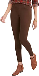 Faded Glory Womens Leggings SMALL Essential Knit Cotton Brown Footless NWT