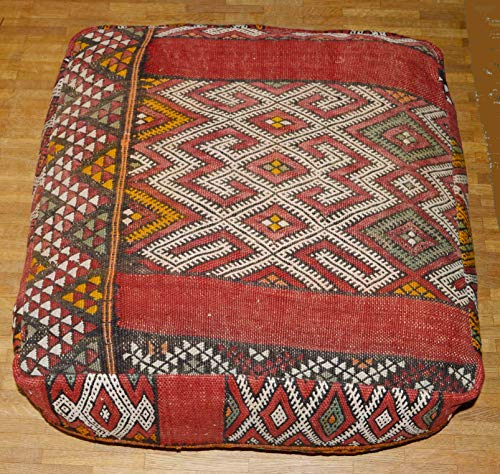 Tislit KELIM SITZKISSEN, Pouf,marokkanische Kelim Sitzkissen, Berber Sitzkissen aus traditionellem originalem Vintage-Kelim inkl. Füllung 60 x 60 x 25 cm