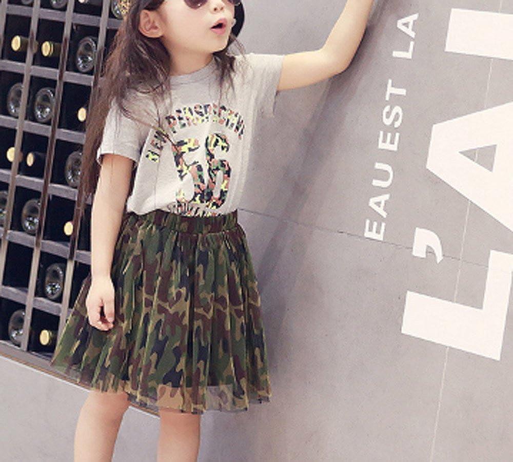 FANCYKIDS Girls Toddler Baby Kids Childrens Shirt Top Cute Camouflage Camo Tutu Skirt Outfit 2 Piece Set