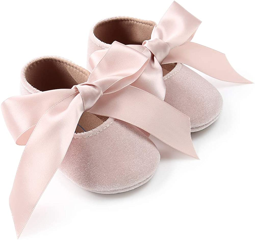 SOFMUO Baby Girls Mary Jane Flats Infant Non-Slip Bowknot Ballet Slippers Newborn Princess Dress Wedding Shoes Toddler First Walkers