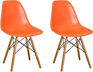 Mod Made Mid Century Modern Armless Paris Dining Side Chair with Natural Wood Legs for Dining Room Living Room or Kitchen- Orange (Set of 2)