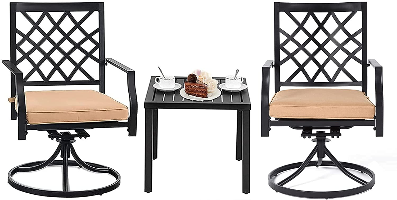 3-Piece Cheap super special price Bistro Set MEOOEM 2 Patio 1 Mail order Side Tabl Swivel Chairs and