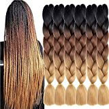SHUOHAN 6 Packs Ombre Jumbo Box Braids Braiding Hair Extensions 24 Inch High Temperature Synthetic Fiber Hair Extensions for Braiding (Black to Brown to Light Brown)