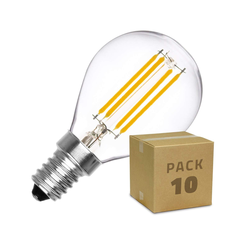 LEDKIA LIGHTING Pack Bombilla LED E14 Casquillo Fino Regulable Filamento Sphere G45 3W (10 un) Blanco Cálido 2000K - 2500K: Amazon.es: Iluminación
