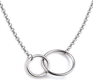 """925 Sterling Silver Necklace with Interlocking Two-Circles Pendant Necklace, 16""""+2"""" Extender"""