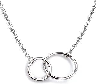 Collar plata de ley S925 con entrelazados dos círculos colgante collar, 16