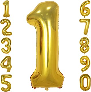 40 Inch Big Number Balloons Gold Mylar Foil Large Number 1 Giant Helium Balloon Birthday Party Decoration