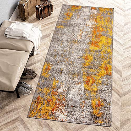 Carpeto Rugs Modern Läufer Flur Teppich Abstrakt Muster - Kurzflor Teppichläufer für Flur, Küche, Schlafzimmer, Esszimmer - Flurläufer in Versch. Größen und Farben - Gelb Gold 80 x 300 cm